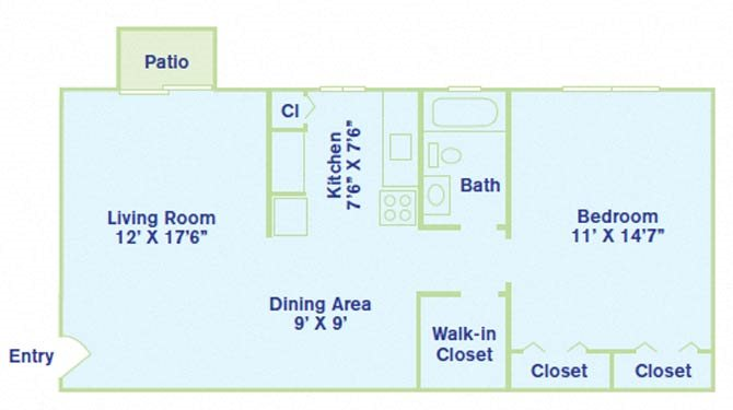 1 Bedroom - No balcony Floor Plan 1
