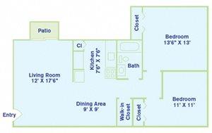 2 Bedroom - No Balcony