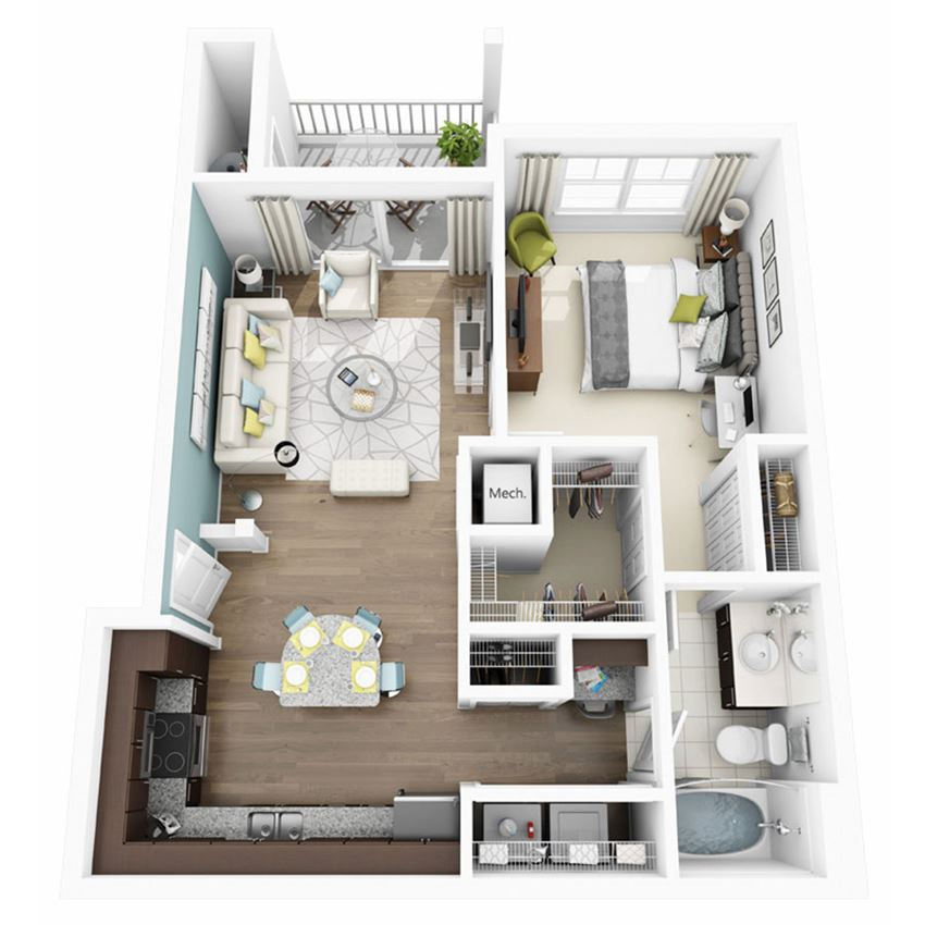 1 Bed 1 Bath ALLEGRE Floor Plan at  Altis Lakeline, 12700 Ridgeline Blvd, TX