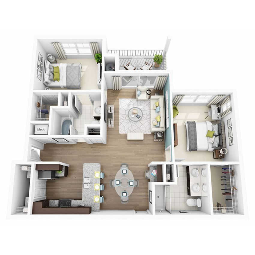 2 Bed 2 Bath ELATE Floor Plan at  Altis Lakeline, 12700 Ridgeline Blvd