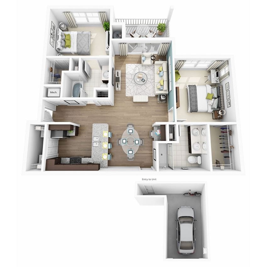 2 Bed 2 Bath ELATE W/GARAGE Floor Plan at Altis Lakeline, Cedar Park, Texas