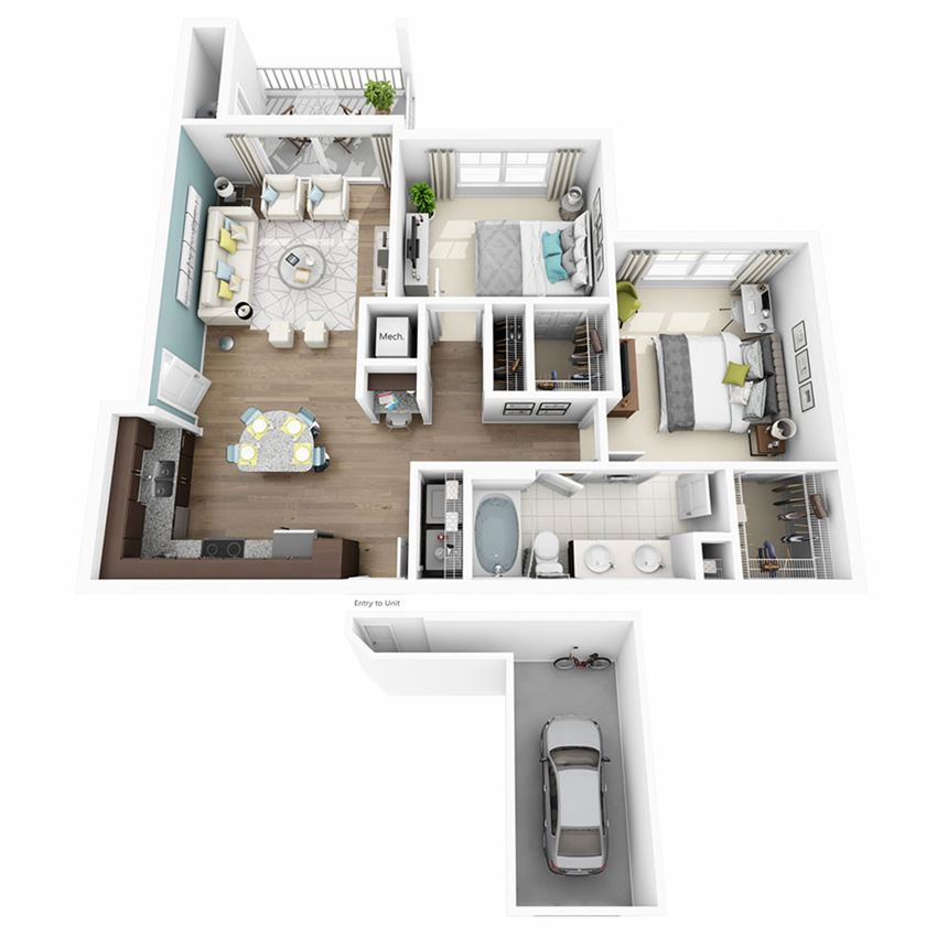 2 Bed 1 Bath ENCHANT W/GARAGE Floor Plan at Altis Lakeline, Cedar Park, 78613