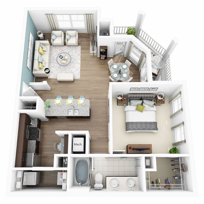 1 Bed 1 Bath AURA Floor Plan at Altis Lakeline, Cedar Park, Texas
