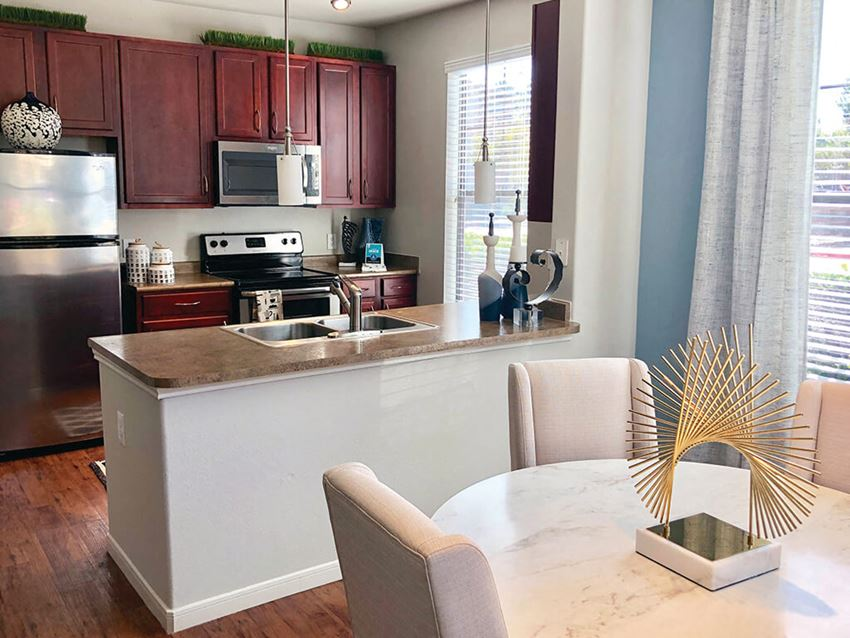 Kitchen at Montfair at the Woodlands apartments in Houston TX