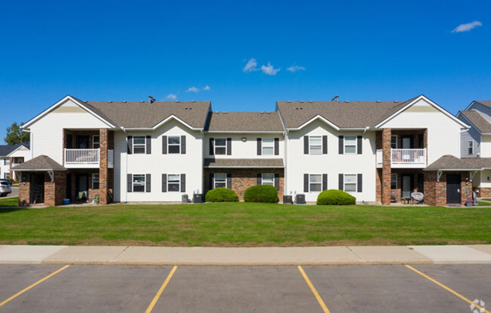 Apartment buildings exterior and parking lot area-Lakestone Apartments, Ann Arbor, MI