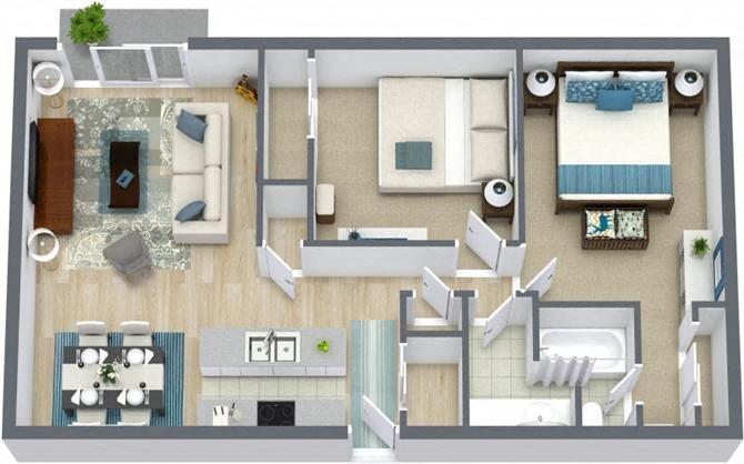 Floor Plans of Boulder Crossroads Apartments in Denver, CO