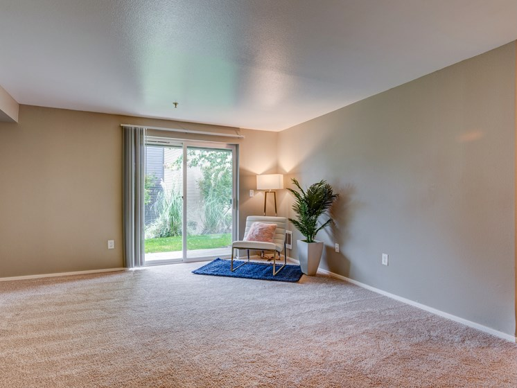The Stinson Apartments Living Room and Patio Door