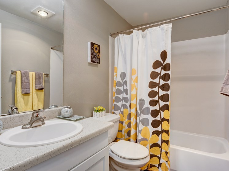 The Stinson Apartments Bathroom Sink and Shower