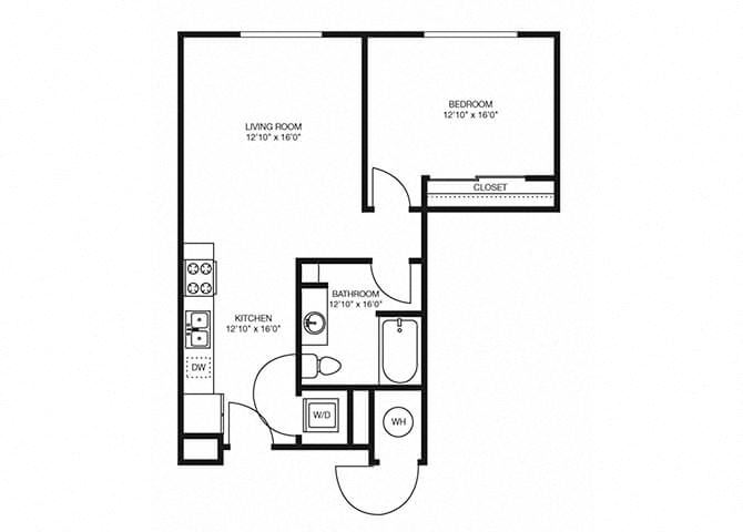 A2 floorplan at the Douglas Apartments in Denver