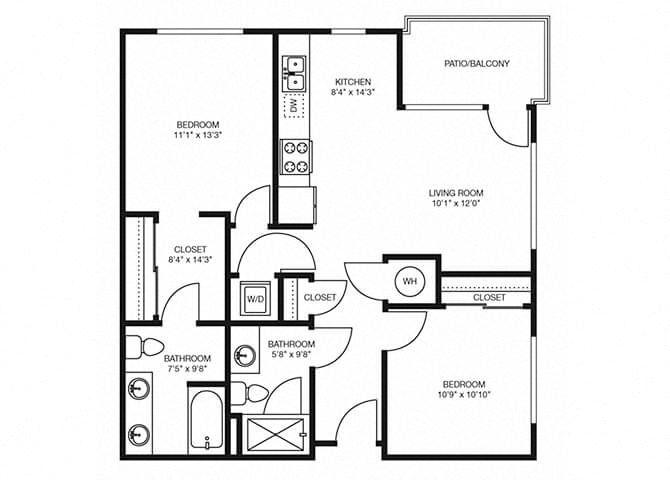 B1 floorplan at The Douglas Apartments in Denver