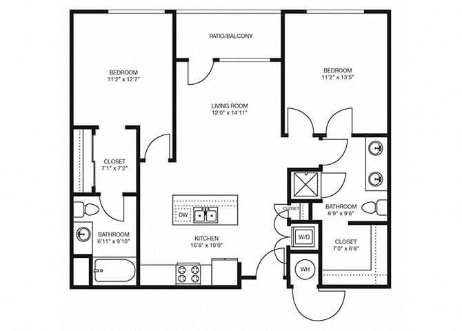 B3 floorplan at The Douglas Apartments in Denver