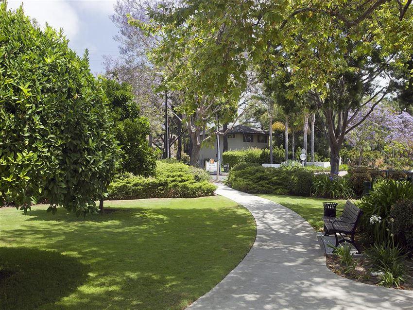 Walking trails, at Rancho Franciscan Senior Apartments, Santa Barbara, CA