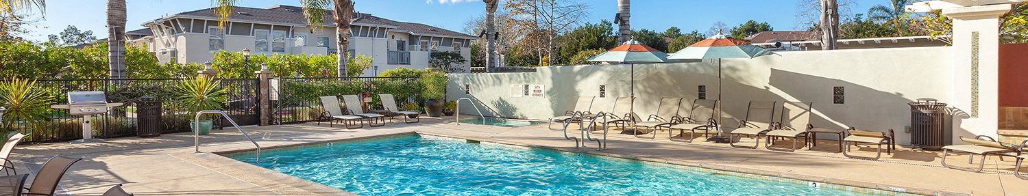 Swimming Pool With Coconut Plant at Ralston Courtyard Apartments, Ventura California