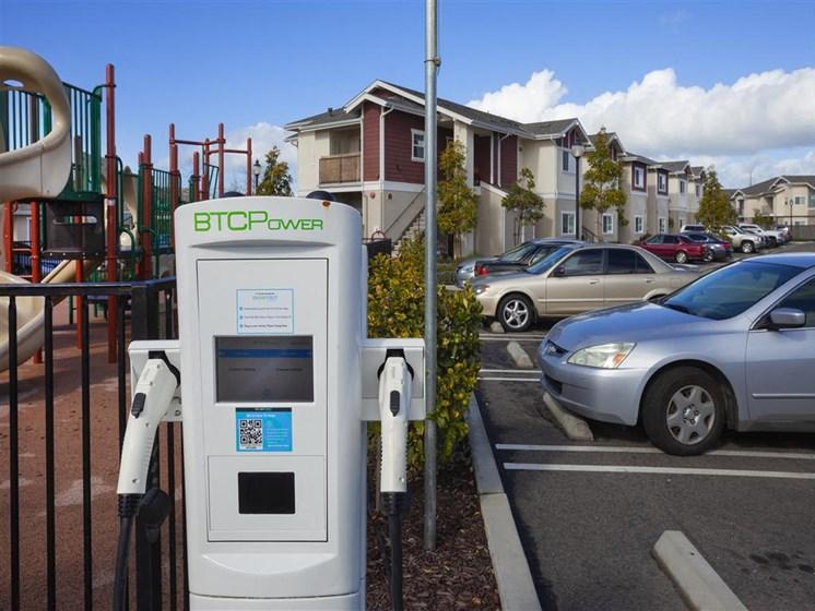 Car charging station, at Siena Apartments, Santa Maria, 93458