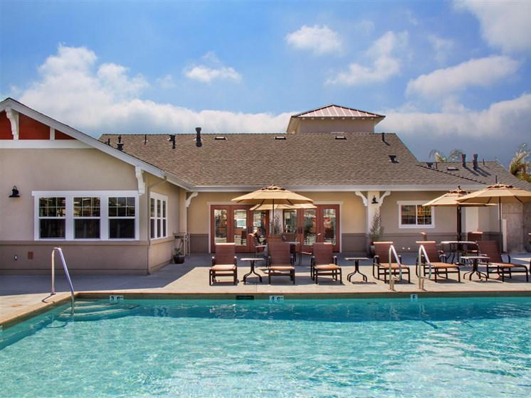 Relaxing Pool Area With Sundeck, at Siena Apartments, California, 93458