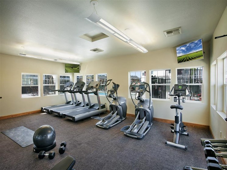 Fitness Center With Modern Equipment, at Siena Apartments, Santa Maria California