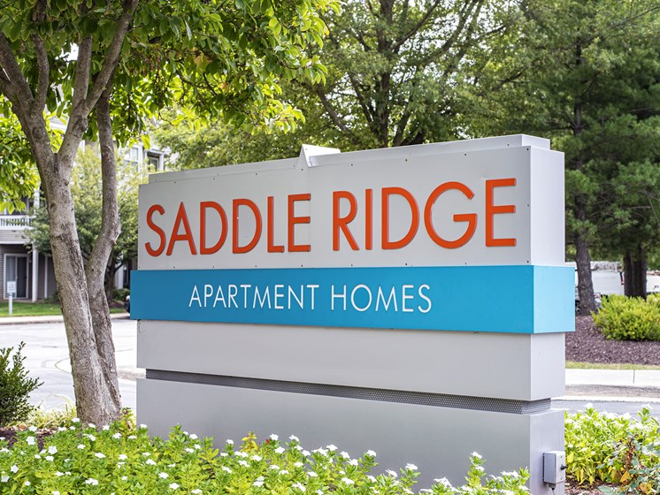 Saddle Ridge entrance sign.