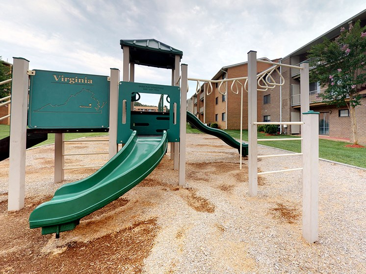slide view with playground structure