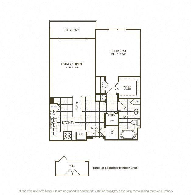 One Bedroom Floorplan illustration
