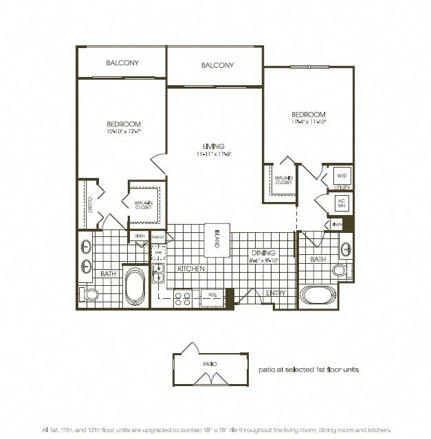 Two Bedroom Floor plan with complete kitchen area in plantation florida