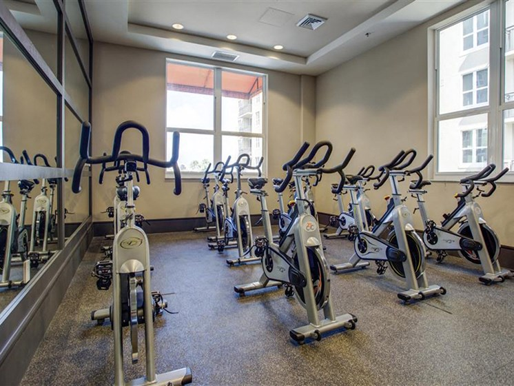 Gym with cycling area for residents in plantation florida