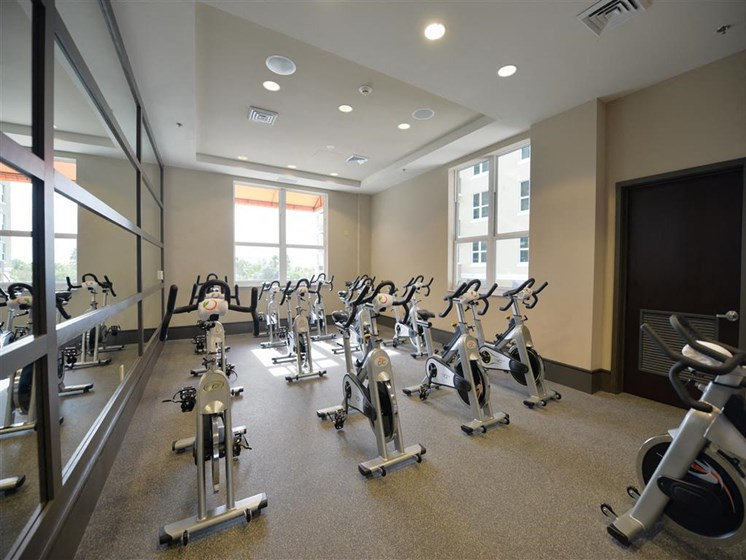 Gym cycling area in plantation florida apartments
