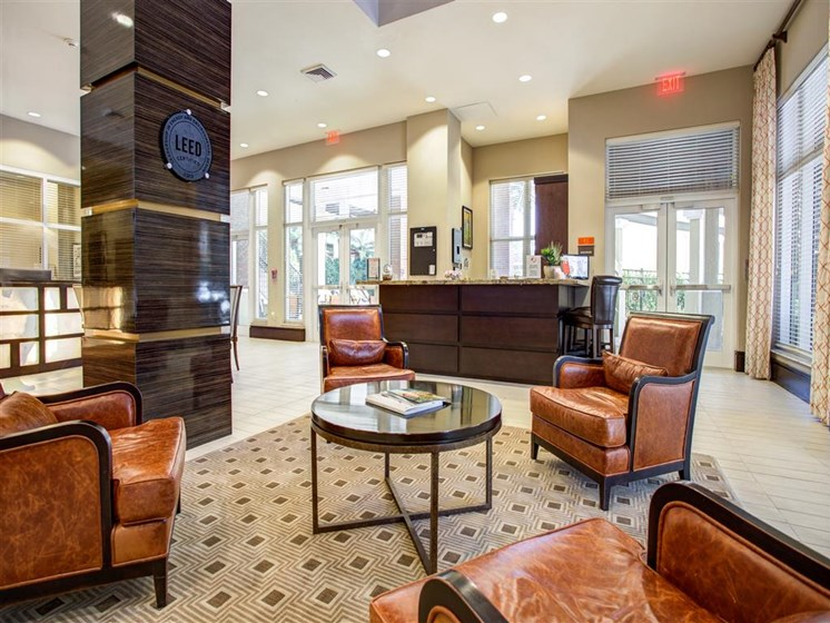 Lobby armchairs and comfortable seating area for residents in plantation florida