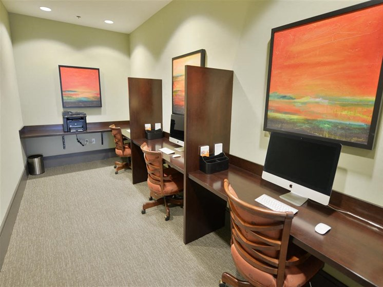 Business Center complete with internet access and modern art for apartments in plantation florida
