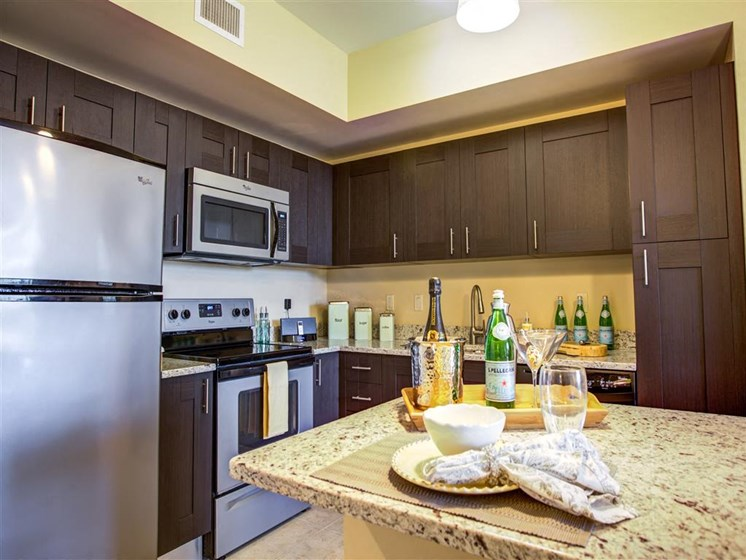 Kitchen with modern stainless steel appliances in plantation florida