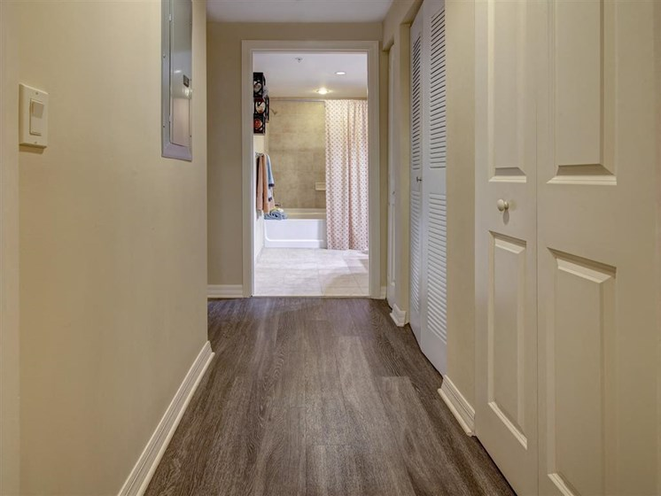Bedroom hallway in large apartment building