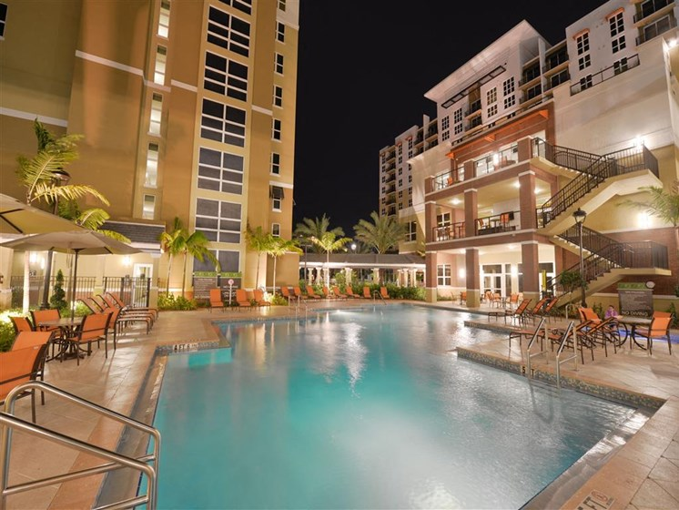 Pool with apartments around outside