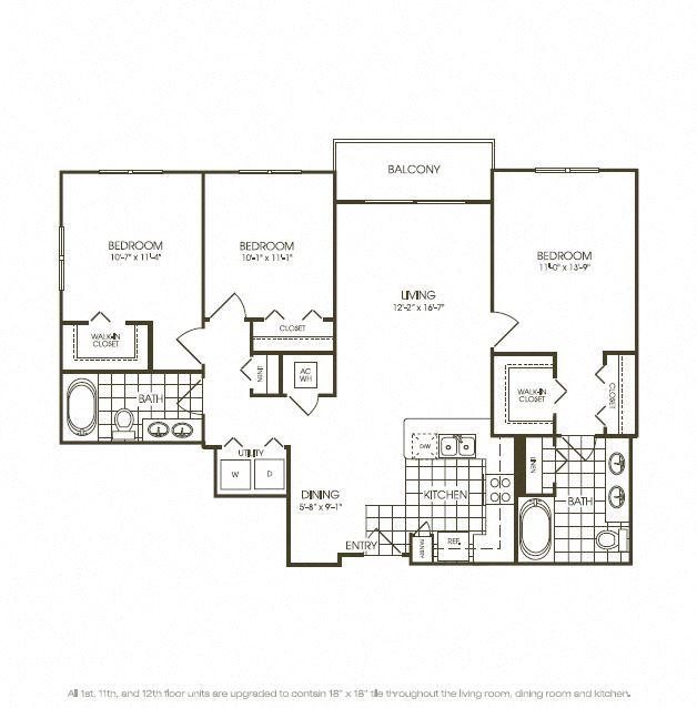 Three Bedroom Floorplan in plantation florida