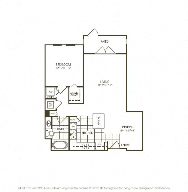 One Bedroom Floorplan aerial view