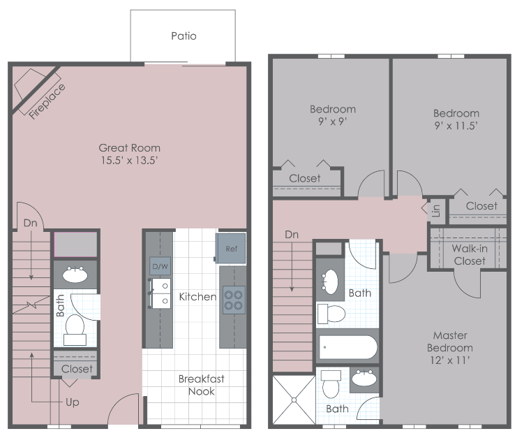 Three bedroom townhome layout