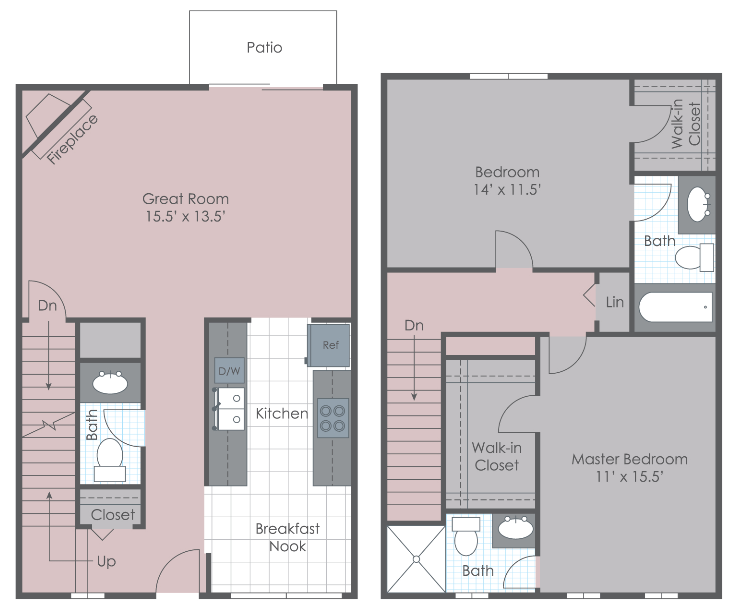 Two bedroom townhome layout
