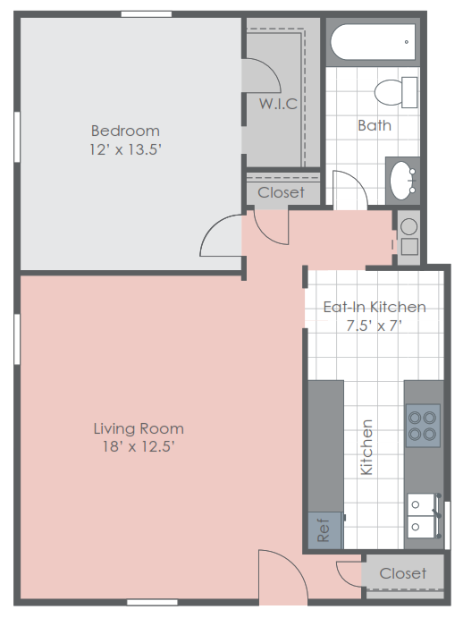 One bedroom floorplan layout
