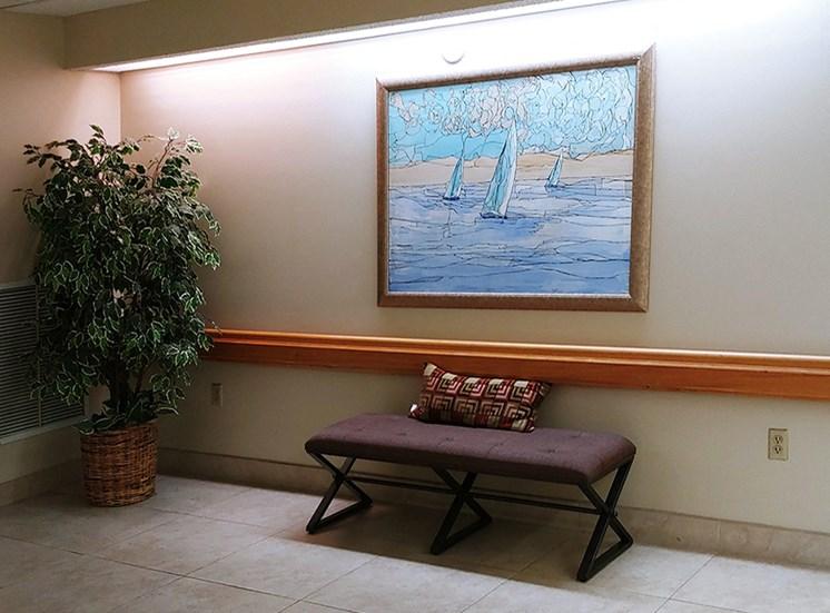 hallway seating at B'nai B'rith I, II, III deerfield apartments in deerfield beach, FL