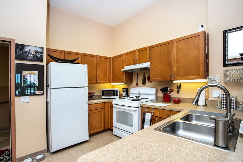 kitchen with stainless steel sink, white appliances, and wood cabinets