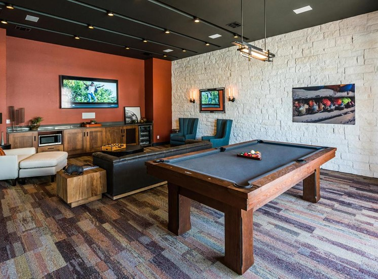 Game room with lounge area, tv and billiard