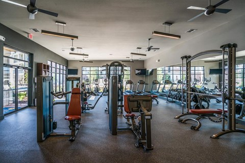 24 hour fitness and wellness studio with cardio equipment and weights