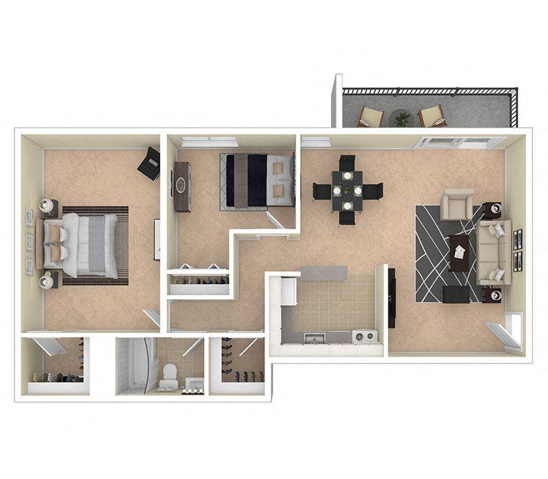 Clermont Apartments 2 Bedroom 1000 sq ft floor plan