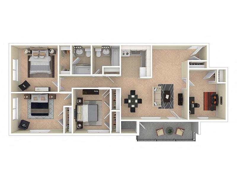Del Vista Apartments Three Bedroom Den
