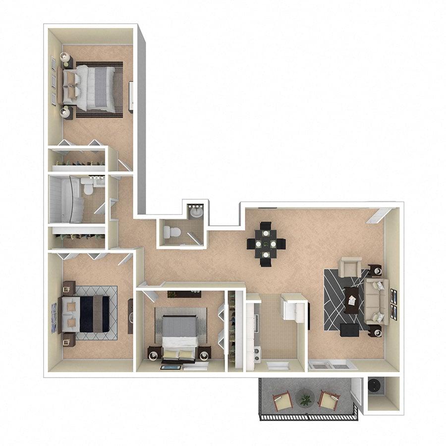 Glen Willow Apartments Three Bedroom
