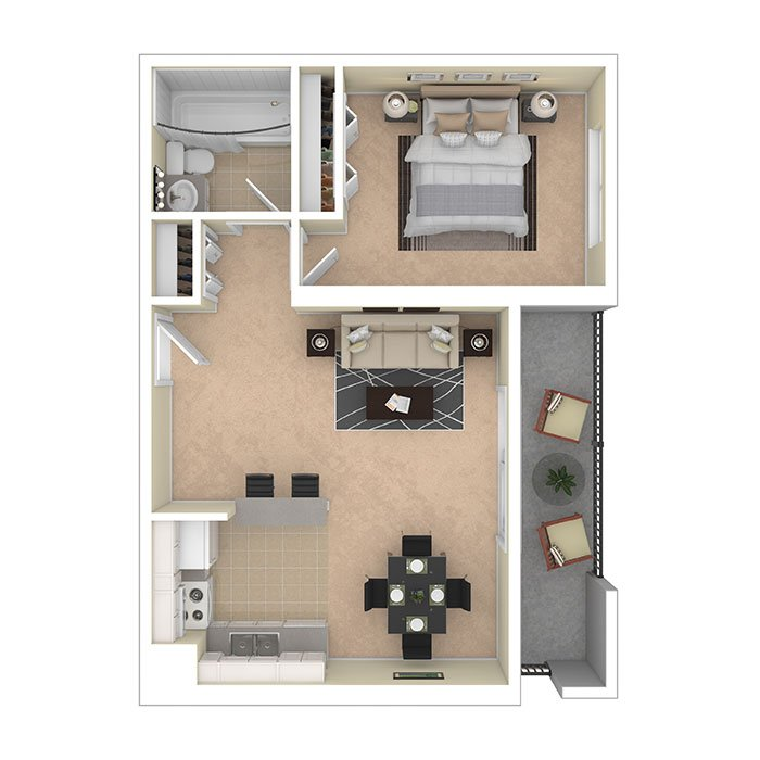 Hertitage Park Apartments One Bedroom 610