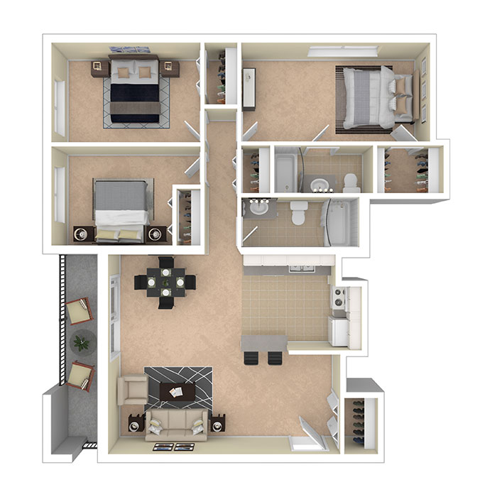 Hertitage Park Apartments Three Bedroom 1099 A