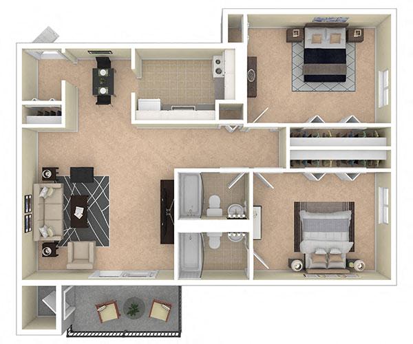 Laurel Village Apartments 2 Bedroom 2 Bath