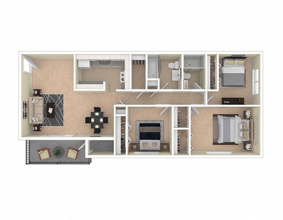 Spring Ridge Apartments Three Bedroom