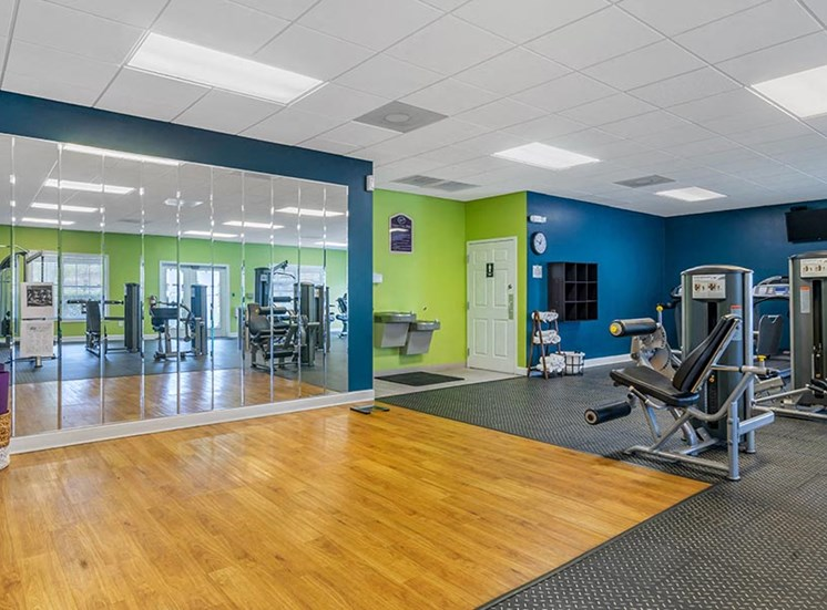 fitness center weights and stretching area