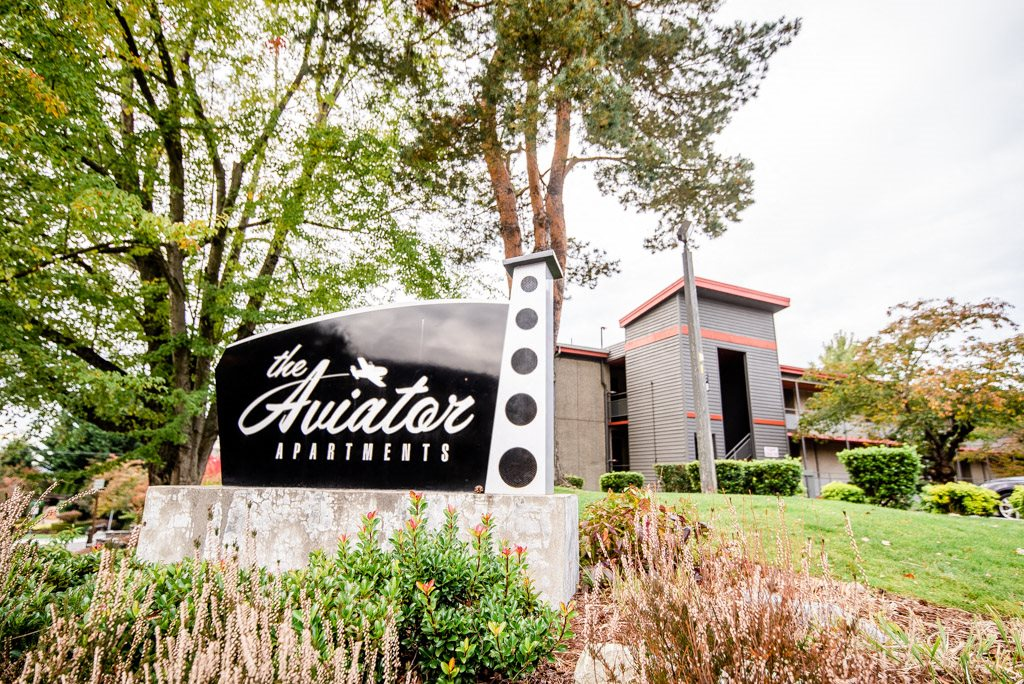 Renton Apartments - The Aviator Apartments - Sign