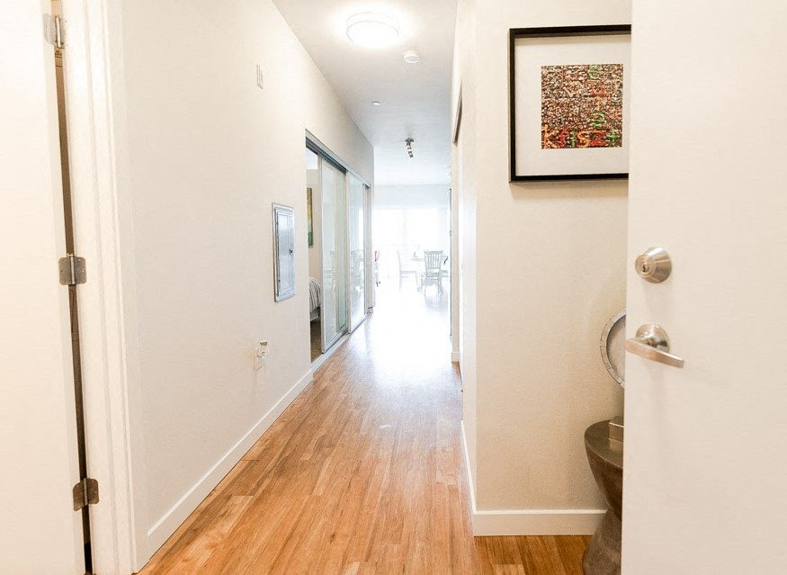 Kent Apartments - The Platform Apartments - Entryway, Bedroom, and Dining Room